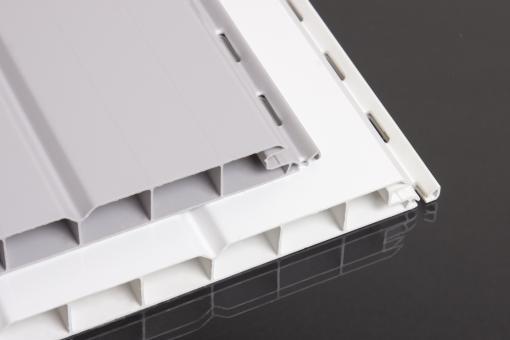 PVC-Paneele hellgrau  16 mm Nut- und Feder